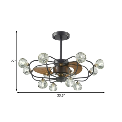 Rustic Wire Cage Fan Lamp 12 Lights 33.5