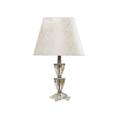 Single Tapered Shade Night Table Light Traditional White/Silver Patterned Fabric Desk Lamp