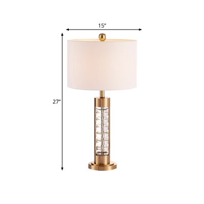 1-Bulb Drum Night Table Light Traditional Gold Finish Fabric Nightstand Lighting with Crystal Base