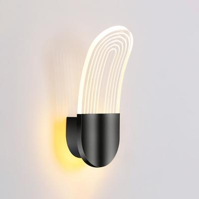 Arced Panel Acrylic Wall Light Sconce Modernist Black/Gold Finish LED Wall Lighting Idea