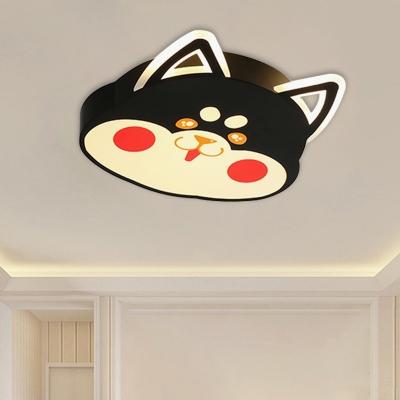 Cartoon Cat Shape Flush Light Fixture Metal LED Bedroom Flush Mounted Lamp in Black/Yellow