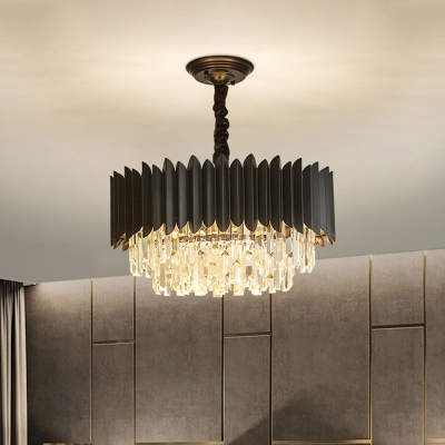 Contemporary 3-Tier Hanging Pendant Crystal Prism 4/5 Heads Chandelier Lighting in Black
