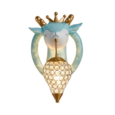 Drop-Shape Wall Mounted Light Nordic Beveled Crystal 1-Head Bedroom Wall Lamp with Elk Design in Pink/Blue