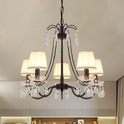 Fabric Cone Pendant Chandelier Simplicity 5/6/8-Light Black Ceiling Lamp with Crystal Droplets