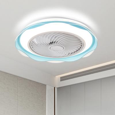 Flower Acrylic Semi Flushmount Fan Light Nordic Blue/Gold Finish LED Flush Mounted Lamp, 19.5