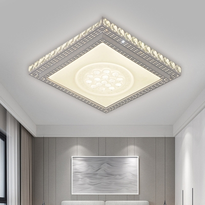 Square/Rectangle Acrylic Ceiling Lamp Modernism White Finish Clear Crystal Block LED Flush Mount Light Fixture for Living Room
