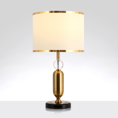 1 Light Drum Shade Table Light Countryside Gold Finish Fabric Night Lamp for Living Room