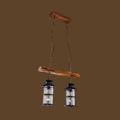 Brown Kerosene Lantern Ceiling Lighting Industrial Clear Glass 2/3 Bulbs Warehouse Island Light