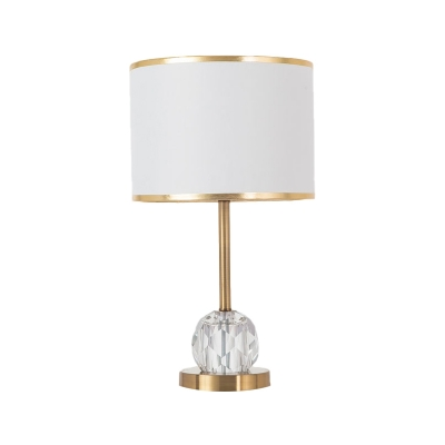 Gold 1 Head Table Light Traditional Fabric Drum Shade Night Lamp with Crystal Ball Base