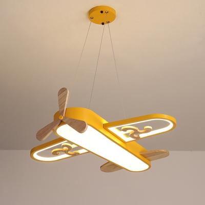 Plane Acrylic Chandelier Lighting Fixture Cartoon LED Yellow Hanging Pendant Light