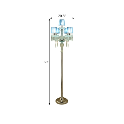 Rustic Conic Floor Reading Lamp 5/6/7-Head Fabric Standing Lamp in Blue with Crystal Drops