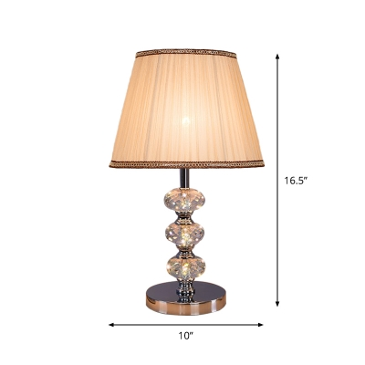 Single Bulb Night Table Lamp with Barrel Shade Fabric Traditional Bedroom Desk Light in Silver/Beige/Coffee