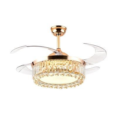 Beveled Crystal Drum Fan Lamp Kit Modern Style 19