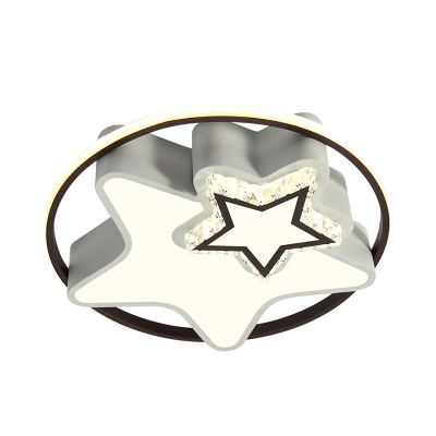 Black Round/Star Flush Light Minimalist LED Crystal Ceiling Mounted Fixture in Warm/White Light for Bedroom