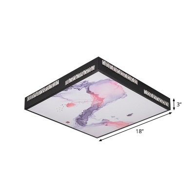 Black Square Flush Mount Fixture Simplicity LED Acrylic Ceiling Flush with Crystal Block Deco
