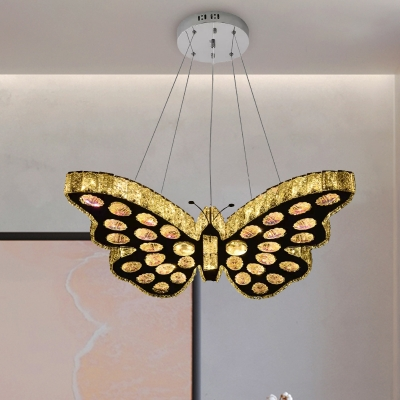 Butterfly Chandelier Light Simplicity Clear Crystal Stainless-Steel LED Hanging Lamp Kit in Warm/White Light