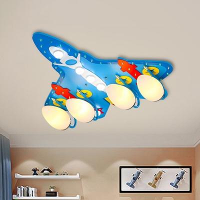 Minimalist Airplane Semi Flush Metallic 4-Head Bedroom Close to Ceiling Lamp in Blue
