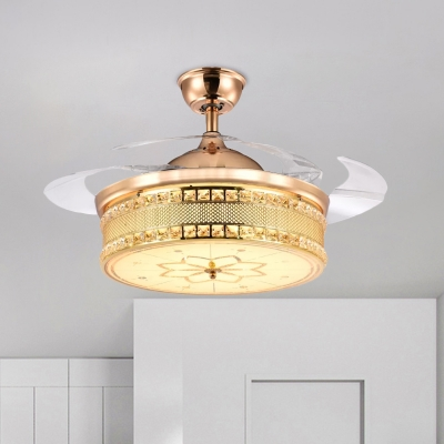 Modern Round Semi Flush Ceiling Light Faceted Crystal 19