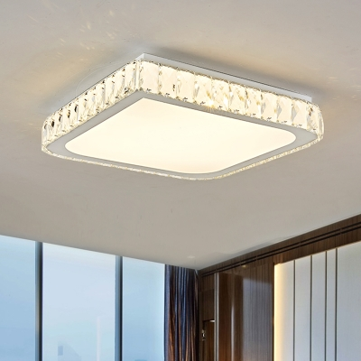 Square Ceiling Mounted Light Contemporary Crystal Block LED Chrome Flush Lamp Fixture
