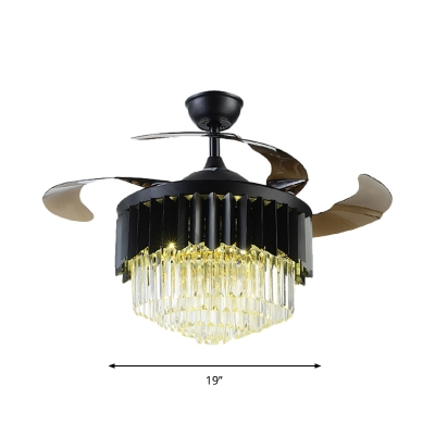 Tiered Hanging Fan Lighting Minimalist Beveled Crystal Living Room LED Semi Flush Mount in Black with 4 Blades, 19