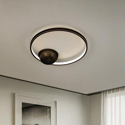 Black/White LED Circular Flushmount Simplicity Metallic Ceiling Light Fixture, 17