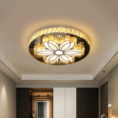 Bloom Flush Mount Fixture Modern Faceted Crystal LED Chrome Close to Ceiling Lighting for Bedroom