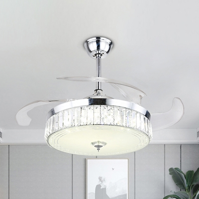 Chrome Round Fan Light Fixture Contemporary Faceted Crystal LED Semi Flush Mount with 3 Blades, 19