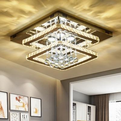 Chrome Squared Semi Mount Lighting Modern LED Crystal Ceiling Light Fixture for Bedroom