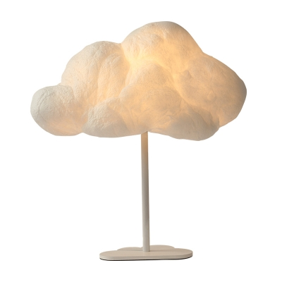 Cloud-Shaped Nightstand Lamp Kids Plastic 1 Light Bedside Table Lighting in White with Metal Base
