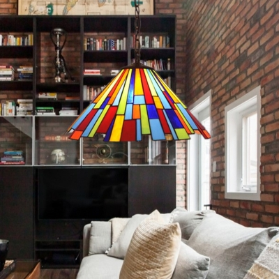 Conic Stained Glass Hanging Light Kit Mission 8