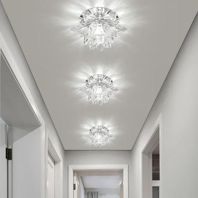 Modernism Lotus Flush Mount Hand-Cut Crystal LED Hallway Ceiling Lighting in Chrome, Warm/White Light