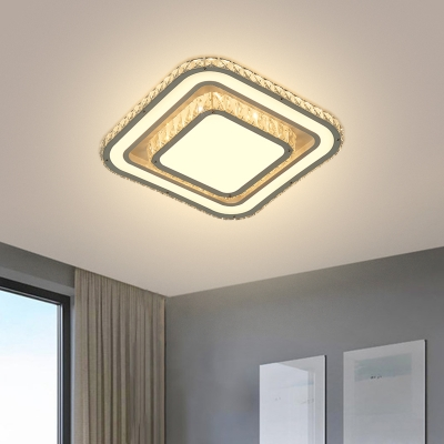 Modernity Square Flush Mount Faceted Crystal LED Bedroom Close to Ceiling Light in Chrome