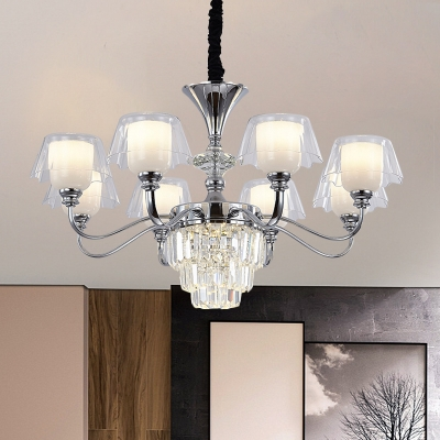 Bell Living Room Chandelier Frosted Glass 6/8 Bulbs Modernist Pendant Lamp in Chrome with Crystal Accent