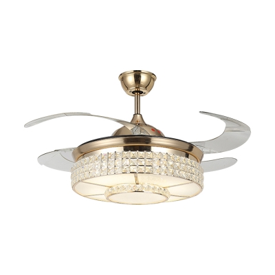 Clear Crystal Round Hanging Fan Light Modernity LED Gold Semi Mount Lighting with 4 Blades, 16