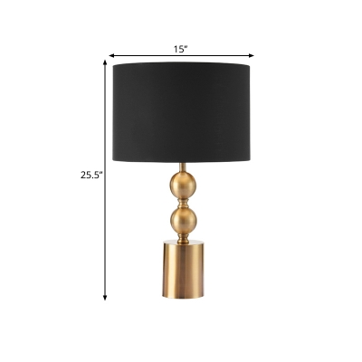 Cylinder and Ball Base Night Lamp Modern Metal 1 Bulb Black Table Light with Drum Fabric Shade