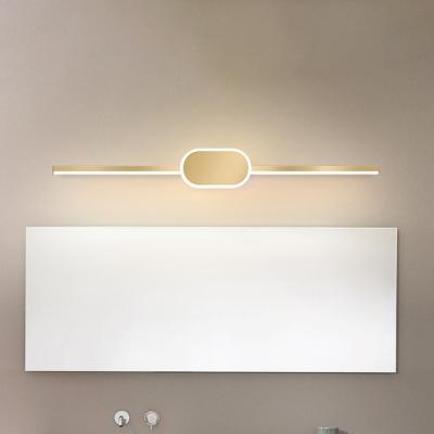 Ellipse Vanity Lighting Fixture Contemporary Metal Gold LED Mirror Light, 16