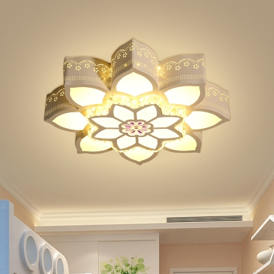 Flower Flushmount Lighting Simplicity Crystal LED White Close to Ceiling Lamp for Bedroom