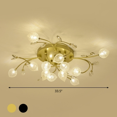 Frosted Glass Spiral Semi Flush Mount Simple 8/12-Light Black/Gold Ceiling Light Fixture with Crystal Accent
