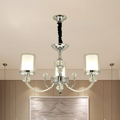 Pillar Chandelier Lighting Contemporary Clear and Frosted Glass 3 Bulbs Bedroom Hanging Light in Chrome