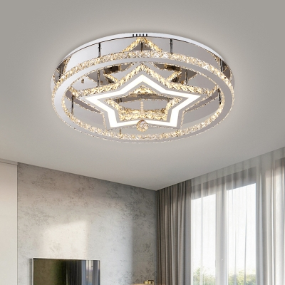 Stainless-Steel LED Star Semi Flush Modern Style Crystal Block Close to Ceiling Lighting