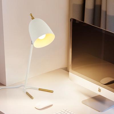 1 Light White Dome Night Table Lamp Modernism Metallic Desk Lighting with V-Shape Pedestal