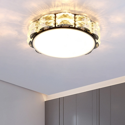 Beveled Crystal Square/Round Flushmount Contemporary LED Close to Ceiling Lighting in Black/White for Corridor