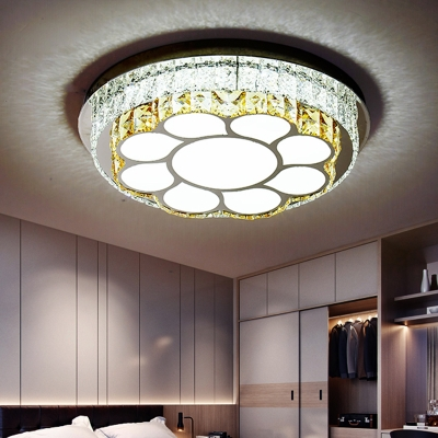 Crystal Flower/Loving Heart Ceiling Flush Modern Style LED Chrome Flush Mount Light Fixture for Bedroom