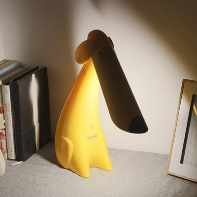 Dog Study Room Rotating Desk Light Plastic Cartoon Touch Dimmer LED Reading Lamp in Yellow