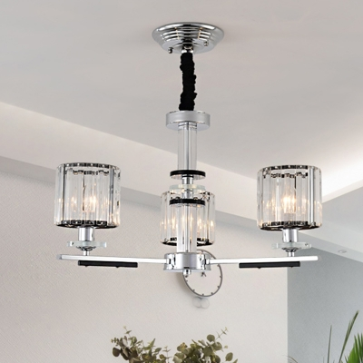 Prismatic Crystal Cylinder Chandelier Modern 3 Heads Ceiling Pendant Light in Chrome