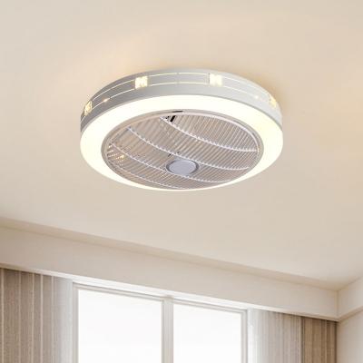 Round Acrylic Fan Light Fixture Modern Style 23