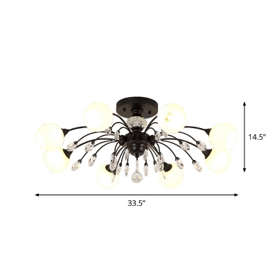 Simple 8 Bulbs Semi Mount Lighting Black Sphere Ceiling Light Fixture with Opal Glass Shade