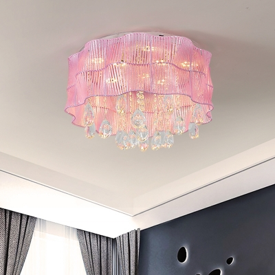 Teardrop Flush Mount Fixture Simple Clear Crystal LED Bedroom Ceiling Lamp in Pink/Blue with Fabric Shade