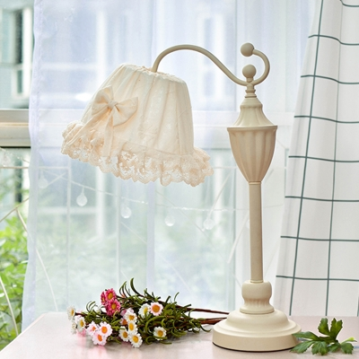 Trapezoid Iron Table Lamp Modern Romantic 1 Bulb White Nightstand Light with Ruffle Lace Cover