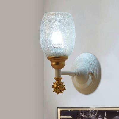 Clear Crackle Glass Cup Wall Sconce Modern Style 1/2-Head Blue/Gold/Dark Blue Wall Lighting Ideas for Bedroom